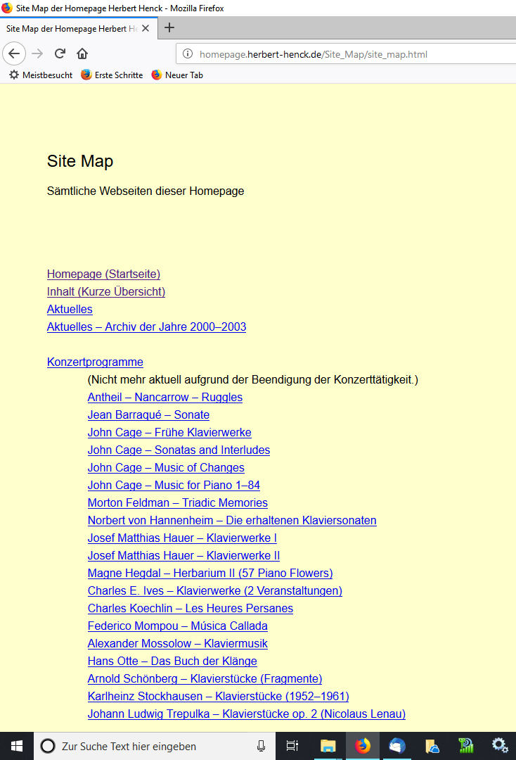Alte Homepage Sidemap